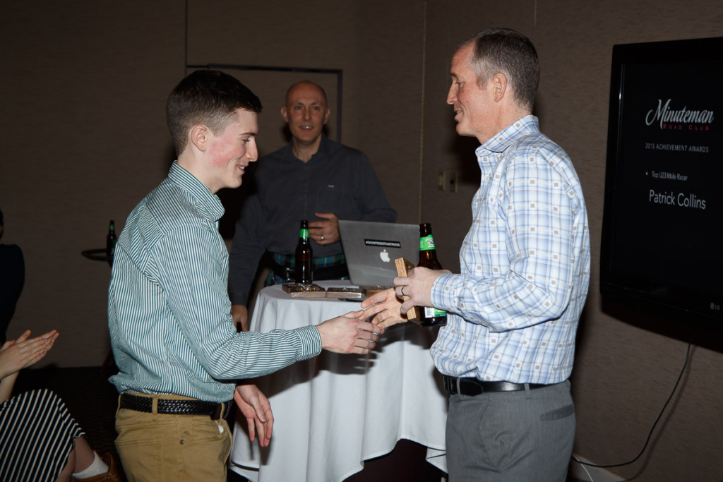 Patrick Collins receives his Top U23 Award from Jeremy Cratty.